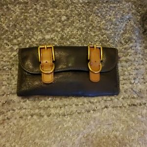 Fossil Navy and Tan Leather Buckle Wallet